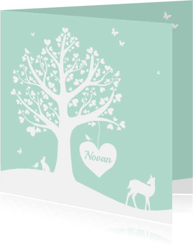 Geboortekaartjes - Geboorte - Hartjesboom jongen