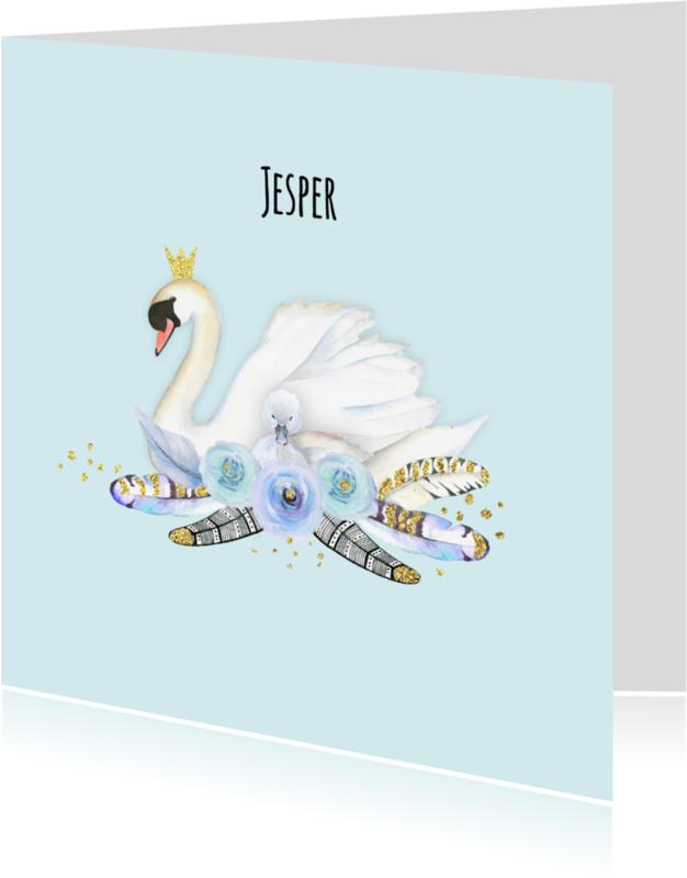 Geboortekaartjes - Geboorte jongen zwaan veren