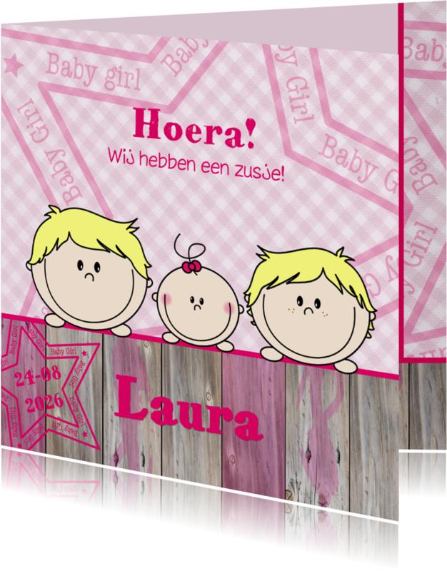 Geboortekaartjes - geboorte jongens blond en zusje