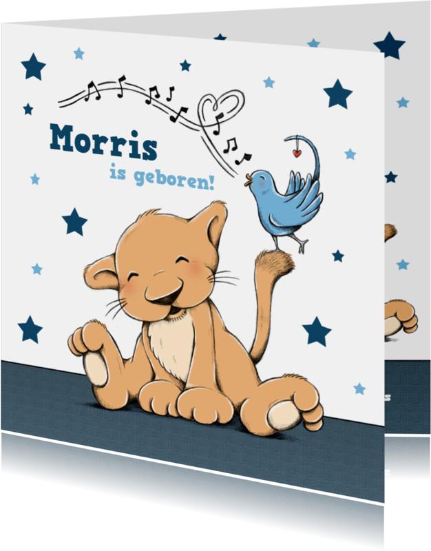Geboortekaartjes - Geboorte leeuw met vogeltje - IH
