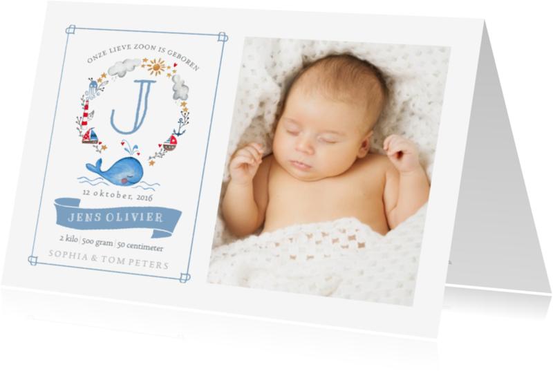 Geboortekaartjes - Geboorte Lief Walvis Jongen