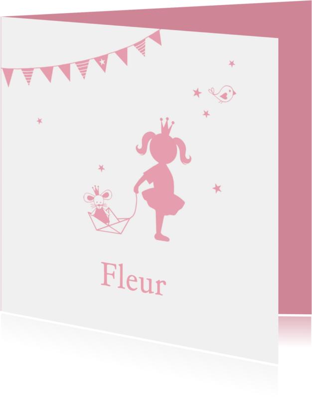 Geboortekaartjes - Geboorte meisje roze silhouet Fleur - MW