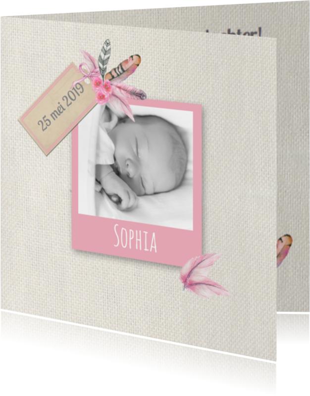 Geboortekaartjes - Geboorte meisje veren
