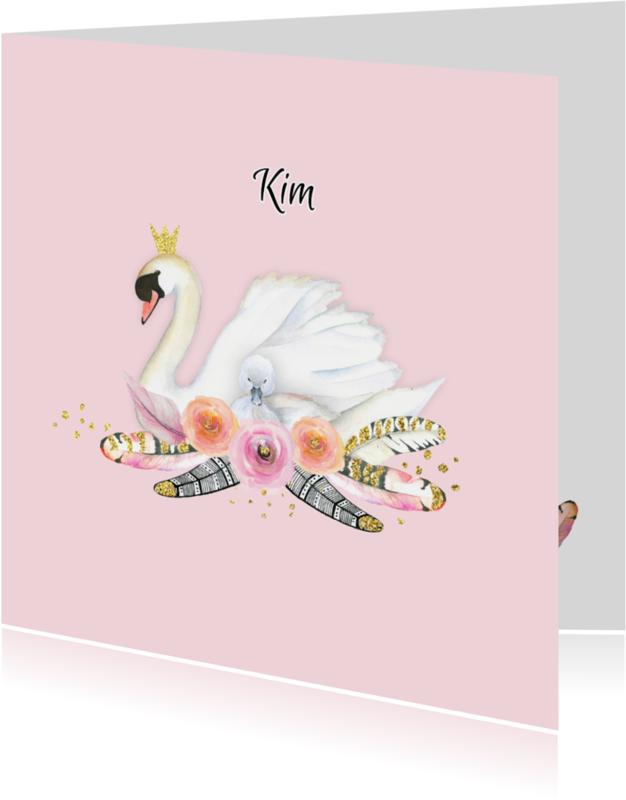 Geboortekaartjes - Geboorte meisje zwaan veren