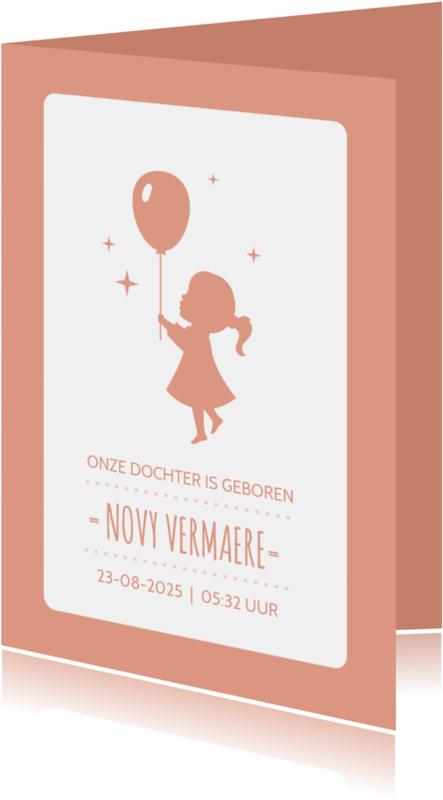 Geboortekaartjes - Geboorte Silhouet Ballon Sterren