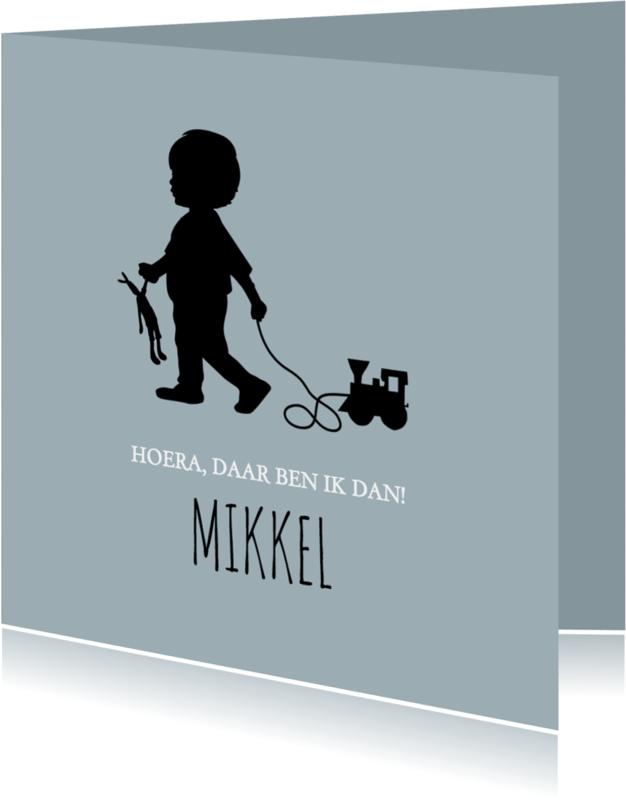 Geboortekaartjes - Geboorte silhouet mikkel - B