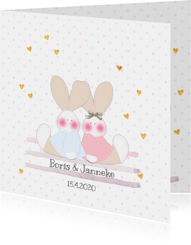 Geboortekaartjes - Geboorte tweeling j/m konijn