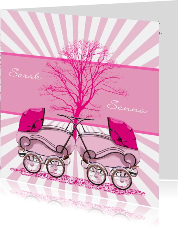 Geboortekaartjes - geboorte-tweeling-rozewagens-HR