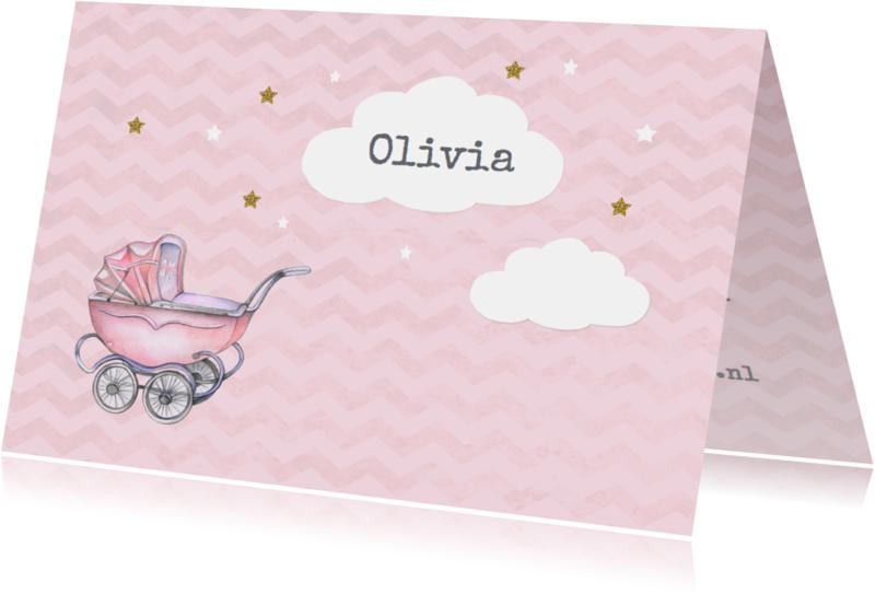 Geboortekaartjes - Geboorte vintage kinderwagen