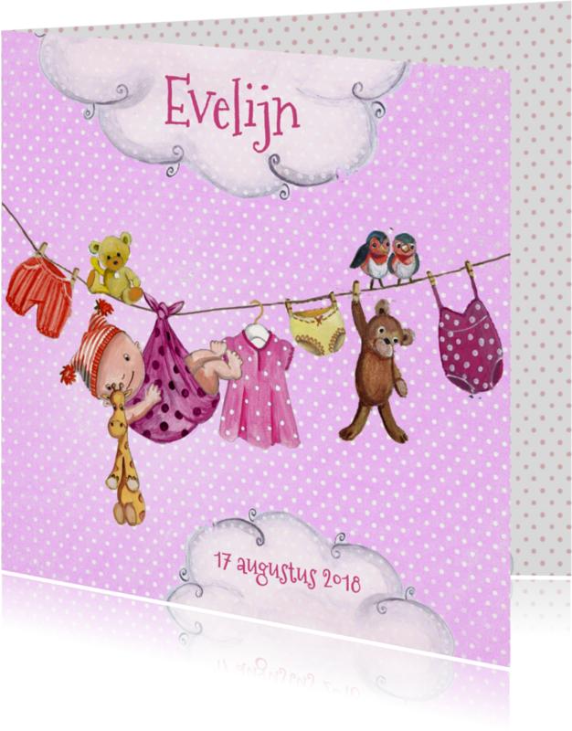 Geboortekaartjes - Geboorte Waslijn Meisje Wolken