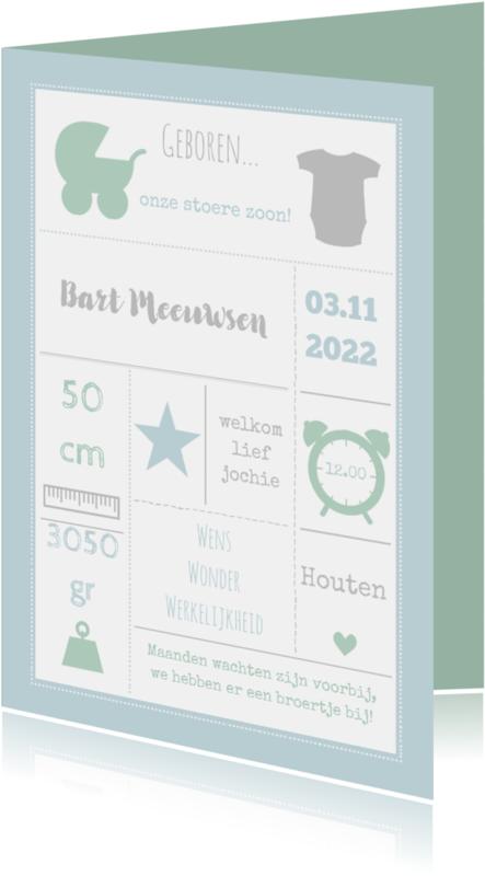 Geboortekaartjes - Geboortekaart blauw typo - BC