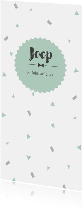 Geboortekaartjes - Geboortekaart confetti mint langwerpig - BC