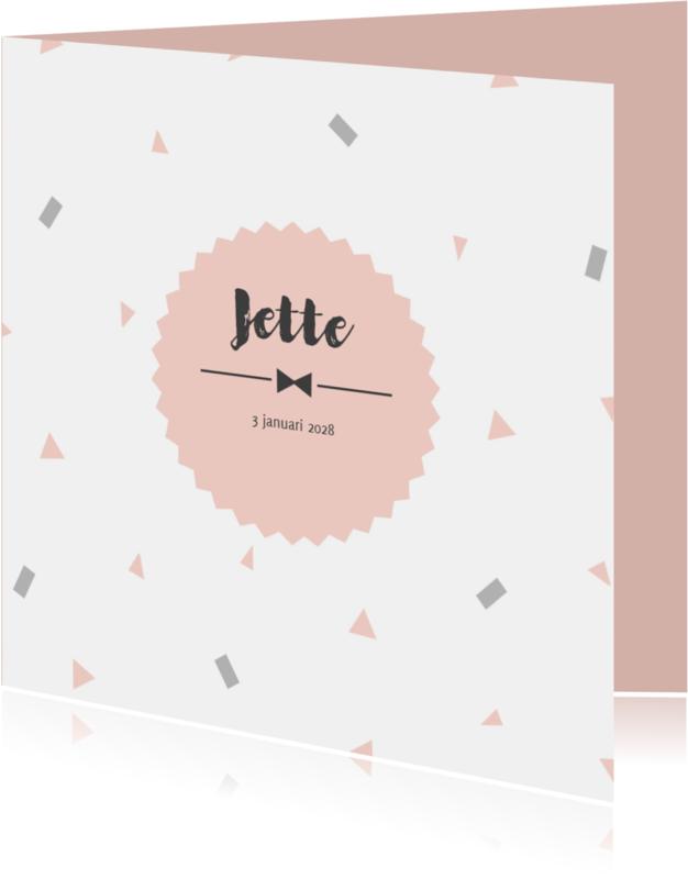 Geboortekaartjes - Geboortekaart confetti roze - BC