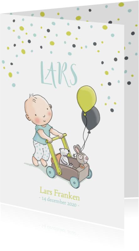 Geboortekaartjes - Geboortekaart jongen loopkar av