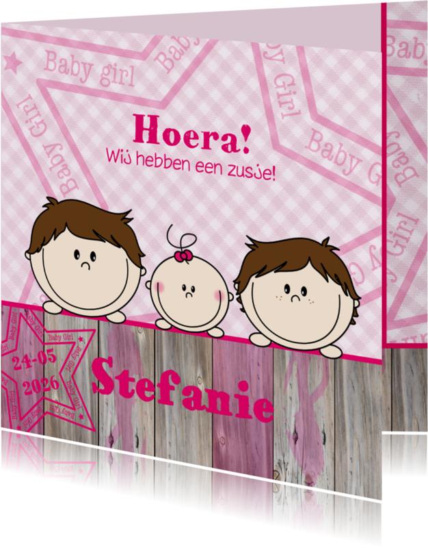 Geboortekaartjes - Geboortekaart Jongens en ZUSJE