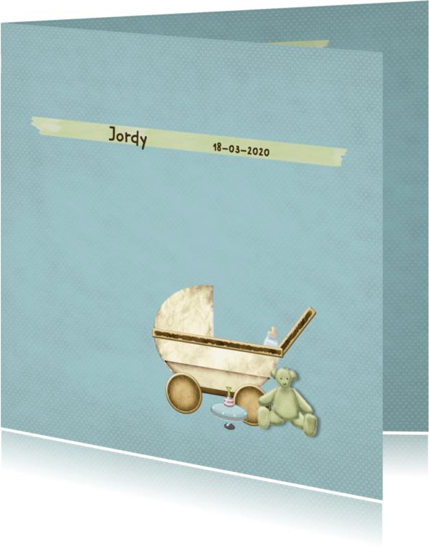 Geboortekaartjes - Geboortekaart kinderwagen jongen
