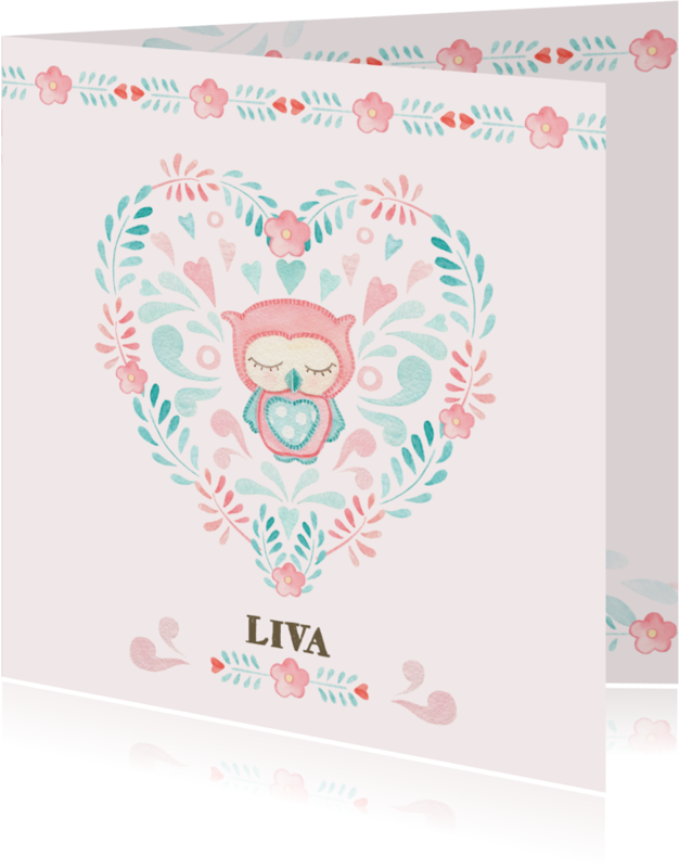 Geboortekaartjes - Geboortekaart meisje stofapplicatie
