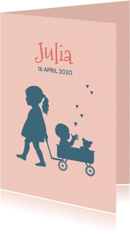 Geboortekaartjes - Geboortekaart Silhouet zus kar