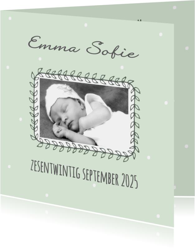 Geboortekaartjes - Geboortekaartje blaadjes aanpasbare kleur - WW
