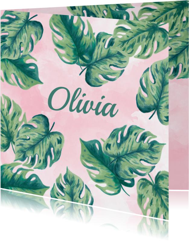 Geboortekaartjes - Geboortekaartje botanical roze aquarel