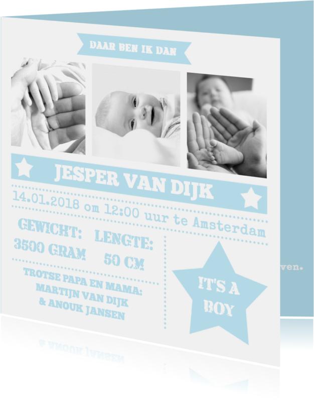 Geboortekaartjes - Geboortekaartje foto's stoer boy