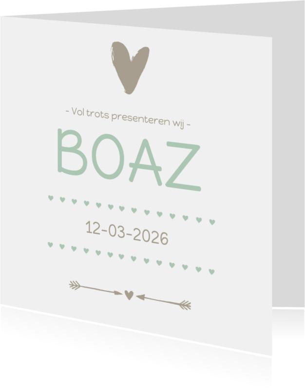 Geboortekaartjes - Geboortekaartje groen hart Boaz