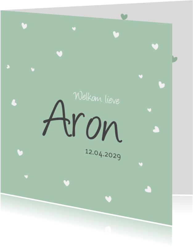 Geboortekaartjes - Geboortekaartje hartjes groen