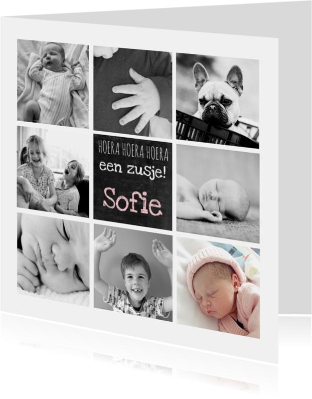 Geboortekaartjes - Geboortekaartje hip foto collage
