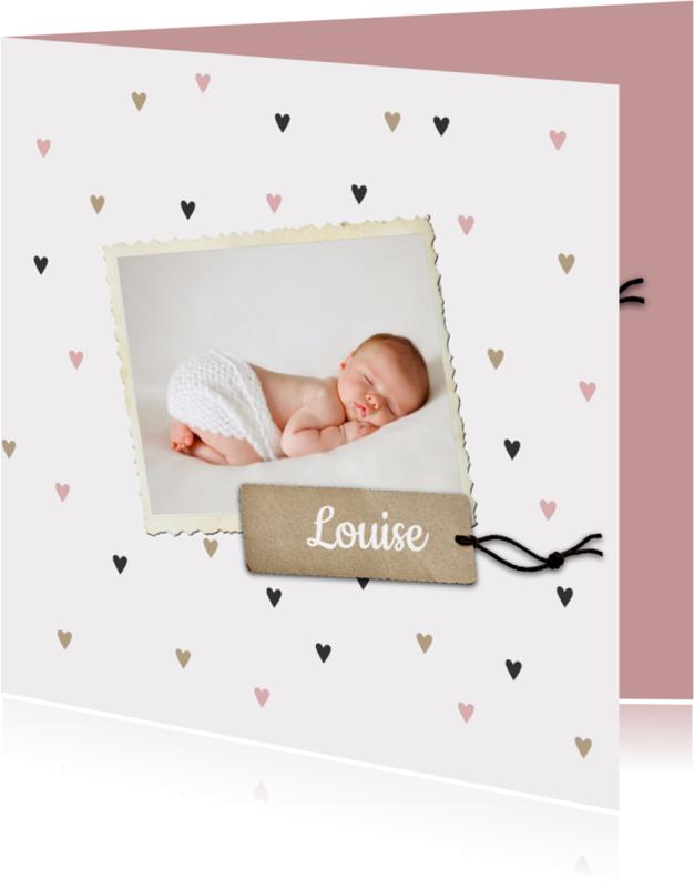 Geboortekaartjes - Geboortekaartje Louise hartjes
