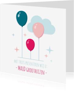 Geboortekaartjes - Geboortekaartje Meisje Ballonnen
