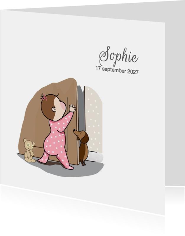 Geboortekaartjes - Geboortekaartje meisje bij deur
