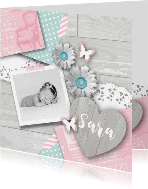 Geboortekaartjes - Geboortekaartje meisje sweet pastel