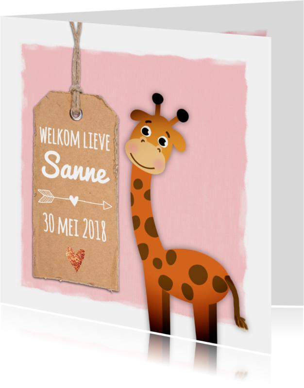 Geboortekaartjes - Geboortekaartje met lieve giraf