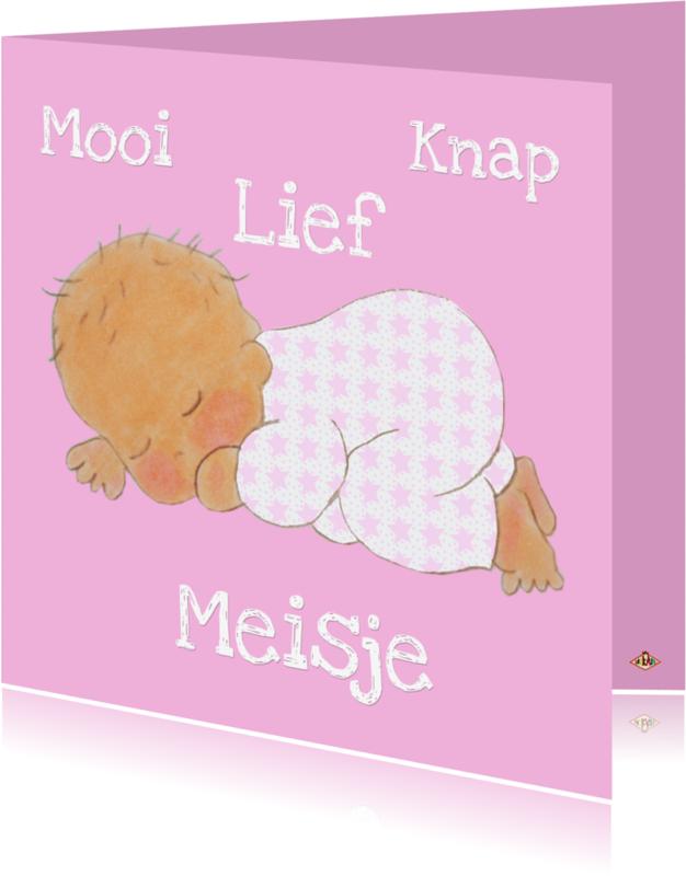 Felicitatiekaarten - Geboortekaartje Mooi Meisje PA