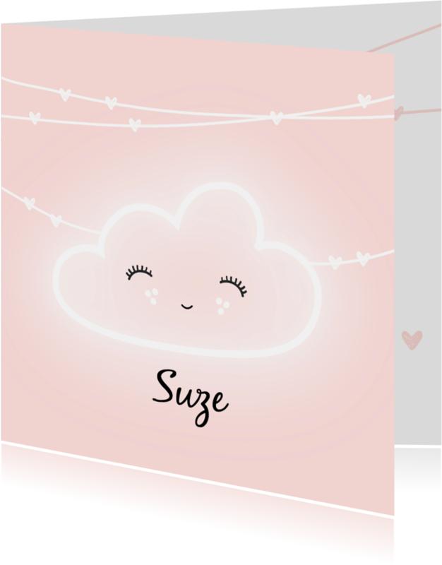 Geboortekaartjes - Geboortekaartje neon wolkje Suze