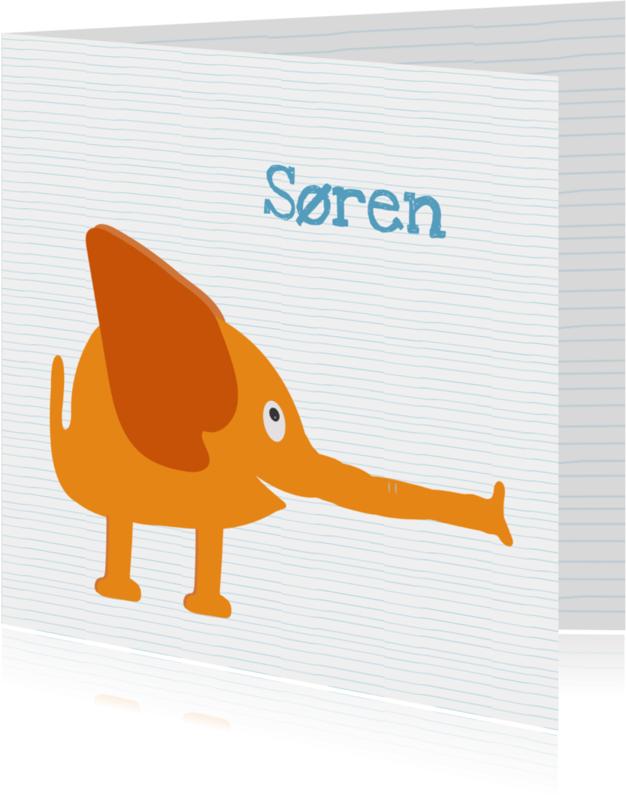 Geboortekaartjes - Geboortekaartje oranje slurf