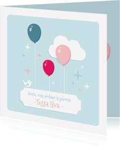 Geboortekaartjes - Geboortekaartje Pastel Ballonnen