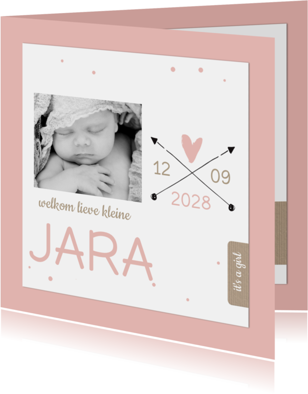Geboortekaartjes - Geboortekaartje roze stip