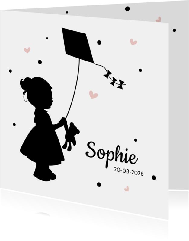 Geboortekaartjes - Geboortekaartje silhouet meisje