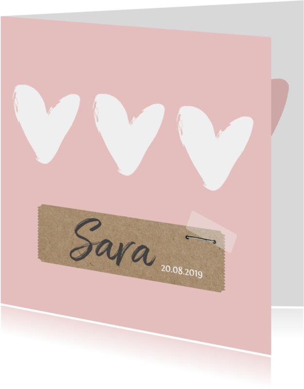 Geboortekaartjes - Geboortekaartje witte hartjes