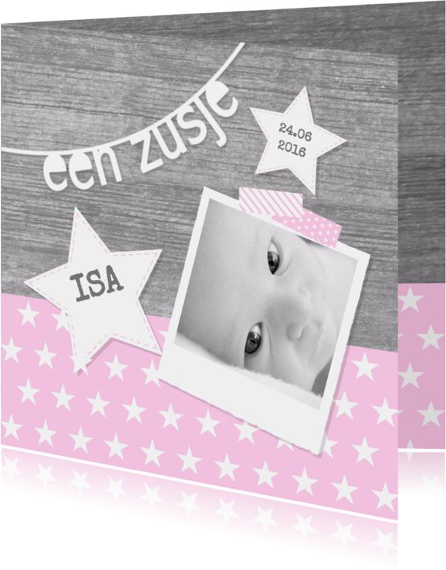 Geboortekaartjes - Geboortekaartje Zusje Sterren