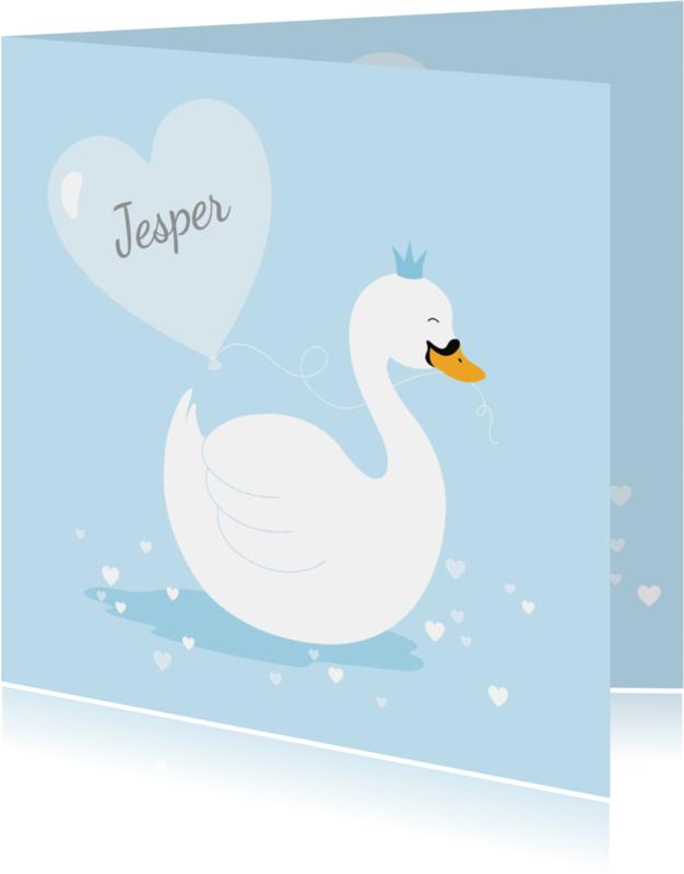 Geboortekaartjes - Geboortekaartje zwaantje lichtblauw hartjes