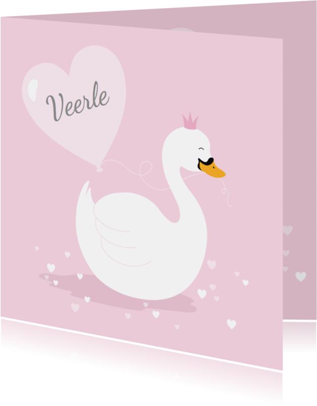 Geboortekaartjes - Geboortekaartje zwaantje roze hartjes
