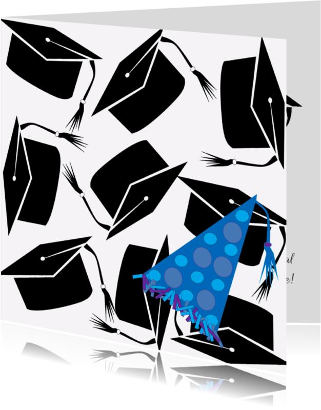 Geslaagd kaarten - Geslaagd  Baret Feest Blauw - AW