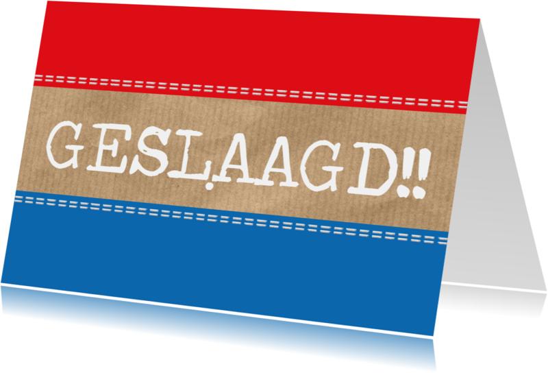 Geslaagd kaarten - Geslaagd met vlag en hip kraft!