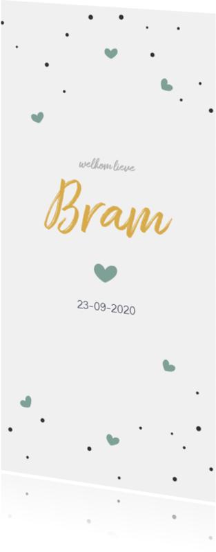 Geboortekaartjes - Groene hartjes en confetti