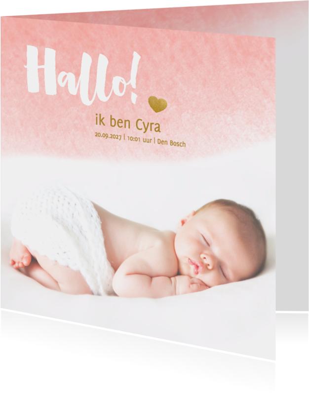Geboortekaartjes - Hallo kaart waterverf roze - DH