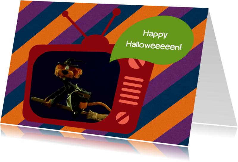 Halloween kaarten - Halloween Loeki tv heks -A