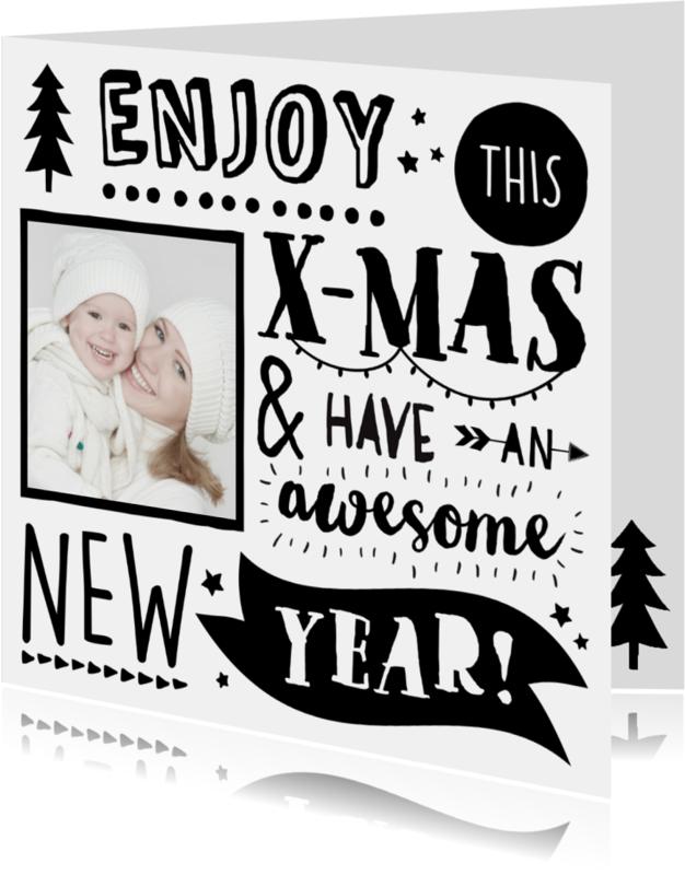Kerstkaarten - Handlettering Kerstkaart Foto