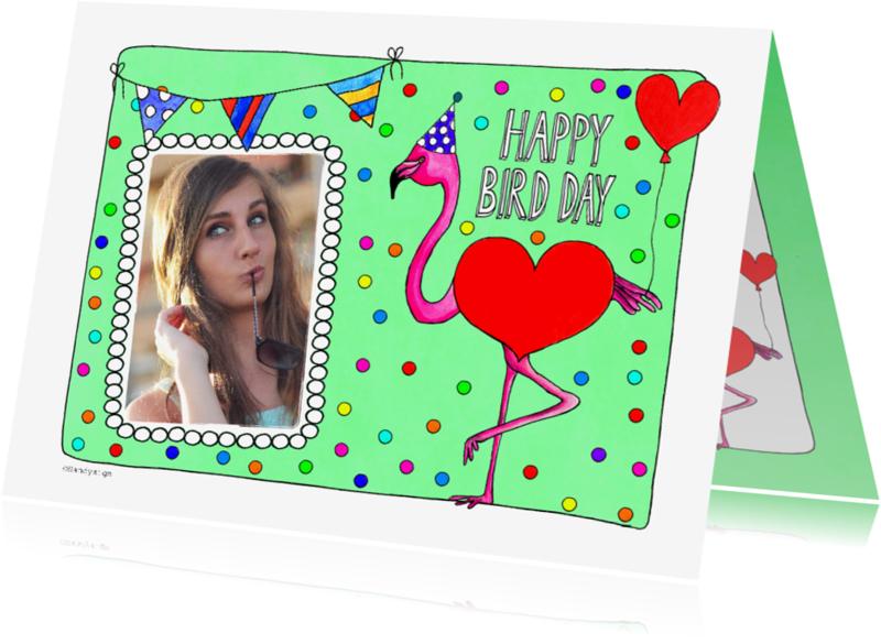 Verjaardagskaarten - Happy Bird Day flamingo fotokaart verjaardag - SD